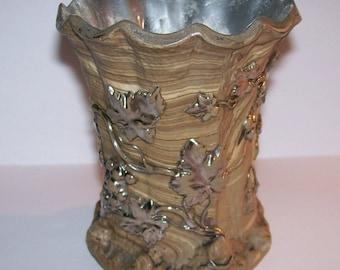 Antique Villeroy and Boch Mettlach #304 Vase 1800s Pottery Platinum Trim Grape Design Vintage Beaker