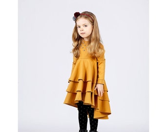 SALE !Girls cotton dress-Mustard girl dress-Organic girl dress-toddler spring dress-Pom pom dress-cotton baby dress-long sleeve dress