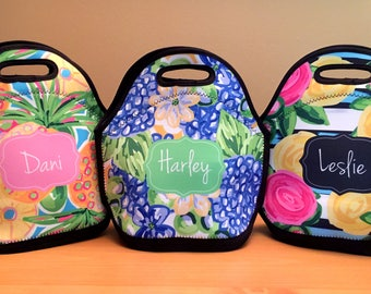Personalized Lunch Bag - Lunch Bag for Women - Lilly Pulitzer Inspired Lunch Bag - Gift For Her - Monogrammed Lunch Tote