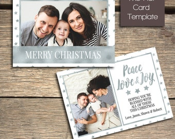 Gleaming Silver Stars Christmas Card - 7x5 Photoshop Template - INSTANT DOWNLOAD