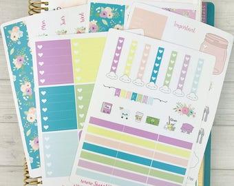 Kawaii Plan With Me - Teal Floral - Vertical