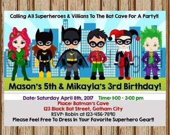 "Superhero and Villians Invitations- Sibling Superhero Invitations- Batman and Robin Invitations - 5"" x 7"" size- Digital- Print at Home"