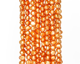 2211_Baroque pearls 7-8x6 mm, Orange pearls beads, Natural pearls, Pearls baroque,Natural pearls for jewelry,Real pearls beads,Baroque beads