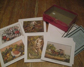 Vintage Currier and Ives 16 Assorted Cards & Envelopes, Unused Lithographs In Original Box