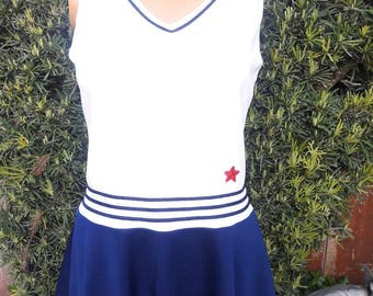 Vintage 1970s Loomtogs Brand Nautical Polyester Tennis Dress
