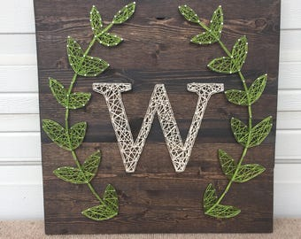 Made to Order: String art monogram sign with laurel wreath