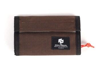Brown Cordura Wallet with velcro closure