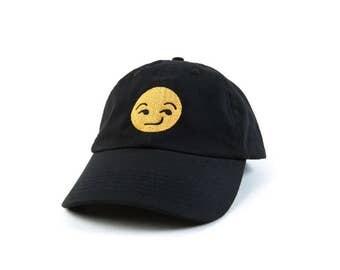 Emoji Hat, Emoji Smirk Dad Hat, Emoji Baseball Cap, Embroidered Baseball Cap, Adjustable Strap Back Baseball Cap, Low Profile, Black