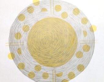 Lino & Screen Print | Yellow Silver | Notation | Musical | Circular Print