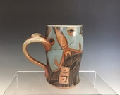 Pottery, Luna Moth, Mug, Hand Painted, Sgraffito Carved, Coffee or Tea Cup.