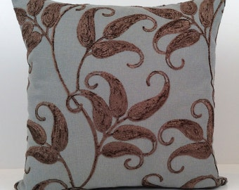 Chocolate Brown and Bluish gray Pillow, Decorative Throw Pillow Cover, Cushion Cover, Accent Pillow, velour Embroidery, Linen Blend pillow.