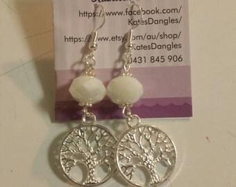 White earrings, white beads, white jewelry, silver earrings, sterling silver earrings, sterling silver jewelry