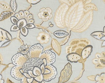 SCALAMANDRE COROMANDEL EMBROIDERY Jacobean Linen Fabric 10 Yards Mineral Multi