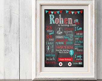 Little Red Wagon Birthday Chalkboard Poster Sign - Milestone Poster - Red Wagon Party - Little Boys First Birthday