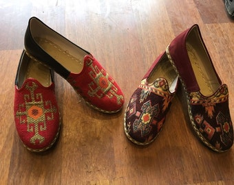Turkish Custom Made  Kilim and Leather Combine Handmade  Ottantic Kilim Fabric shoes Mid Centuray Ottoman Sandals Medieval Shoes Boho Shoes