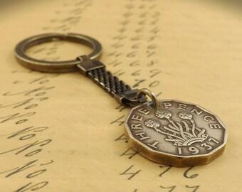 Genuine 1937 Scottish Thruppence Three Pence Thru'pence Vintage Coin Keychain 80th Birthday Gift