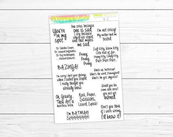 The Big Bang Theory (TV Show) Quote Stickers | 14 Stickers (Great for ANY planner, calendar, craft, scrapbook & more!)