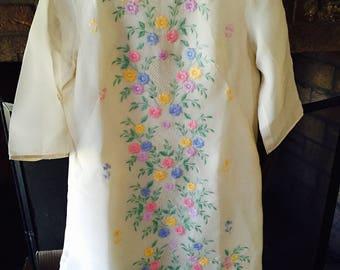 Organdy Flocked Dress Retro Handmade Mid Century 1960s Off White Short Half Sleeve Deep Creek Shabby Decor