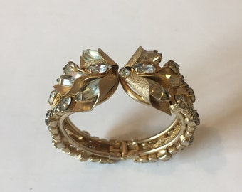 1950's GORGEOUS Hollywood Regency Hinged Bracelet with Individual Prong Set Stones
