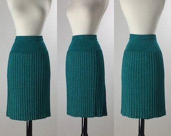 1960's Inspired Teal Lurex Cable Knit Wiggle Skirt | Size Large/Extra Large | VOLUP