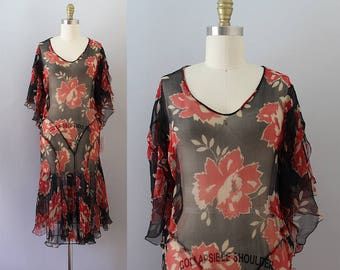 1920s Chiffon Dress / Vintage Antique 20s Floral Dress / XS S
