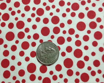 3 Yards 100% Cotton Twill Fabric Red Dots on White
