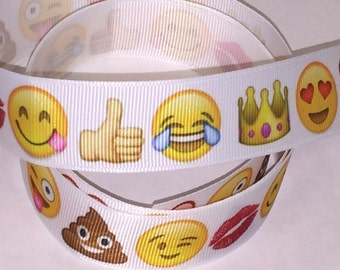 1 inch   - Emoji on White Happy face  -   Printed Grosgrain Ribbon hair bow