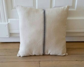 Feedsack Pillow | Blue Striped Pillow | Farmhouse Pillows | Farmhouse Decor Rustic Country | Couch Pillows | Accent Pillows | Farmhouse
