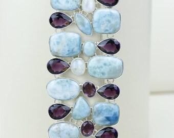 Larimar Moonstone Amethyst 925 S0LID Sterling Silver Bracelet B2586