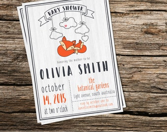 Little Fox Baby Shower Invitation