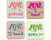 Love Is Coasters, Love is Patient, Love is Kind, Love Does Not Boast, Love Never Fails, 1 Corinthians 13:4-8, Valentines Wedding