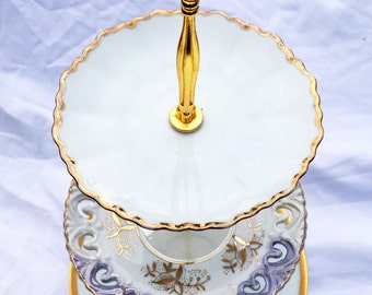 SALE White and Gold, Tiered Tray, 3 tier, Tea Table, Victorian Party, Fancy Plates, Brunch, Cupcake Tower, Marie Antoinette, Lefton China