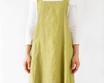 Linen pinafore apron dress for women in chartreuse