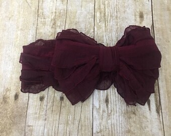Ruffle Headband- Garnet Ruffle Headband- Garnet Headband- Garnet Ruffles- Headband- Large Bow Headband- Bow- Headband