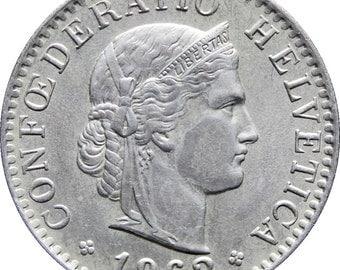 1962 Switzerland 20 Rappen Coin