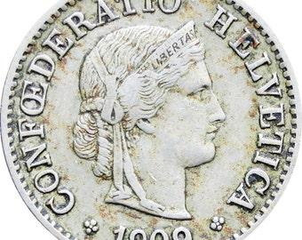 1909 Switzerland 5 Rappen Coin