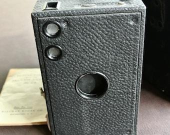 Vintage Box Camera, Kodak Brownie Camera, Brownie Model No. 2 C, Original Case, Antique Brownie Camera