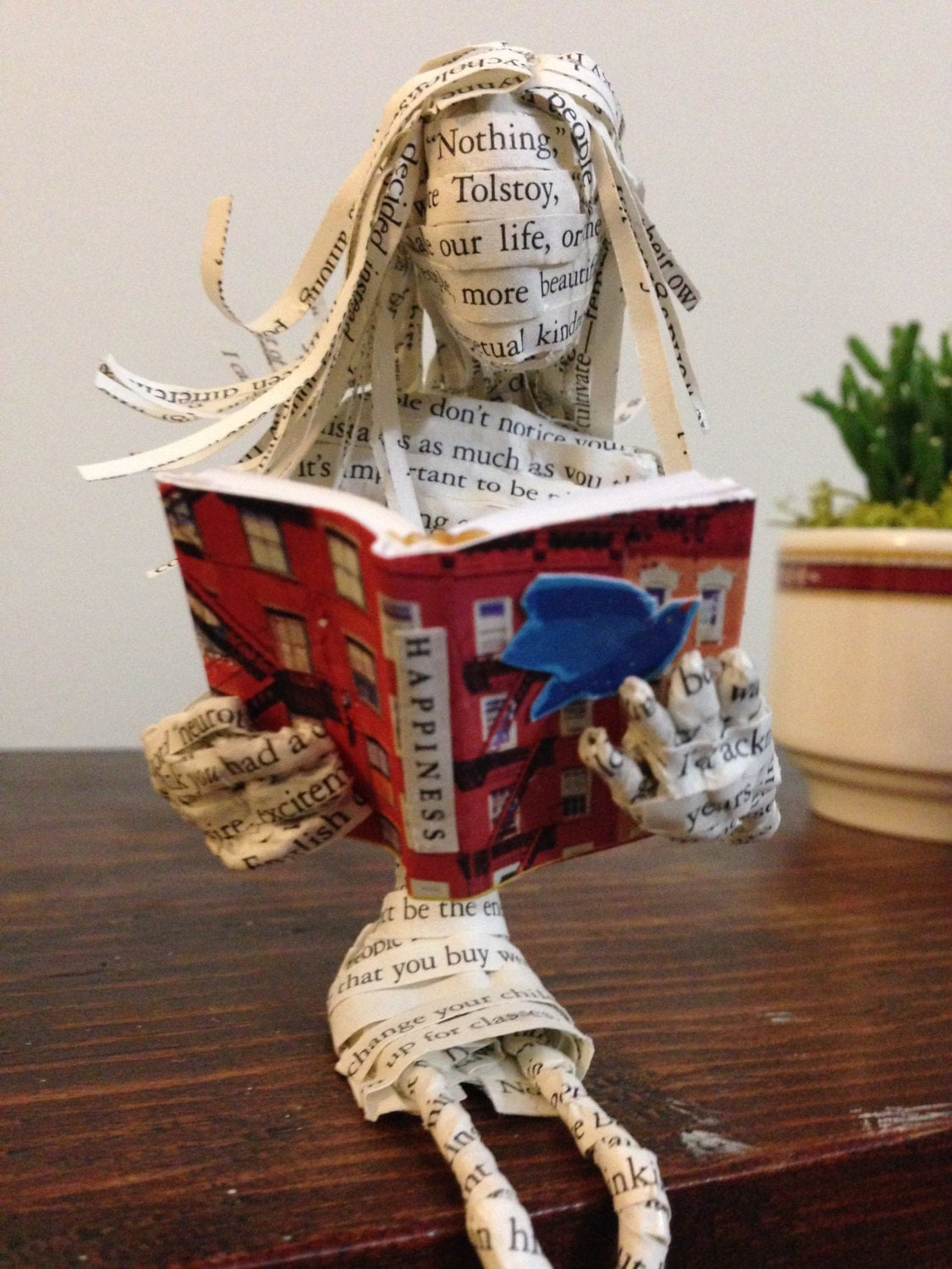 Book art, book sculpture, paper mache, book lover, Gretchen Rubin, Happiness Project, librarian gift, repurposed book, altered book