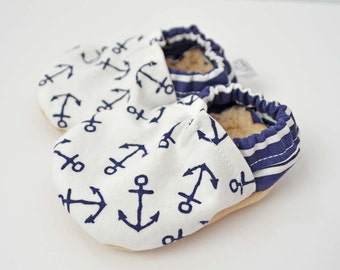 Nautical Baby Booties - Nautical Baby Clothes - Soft Soled Shoes - Anchor Baby Clothes - Pink and Navy - Nautical Baby Gift // Anchors