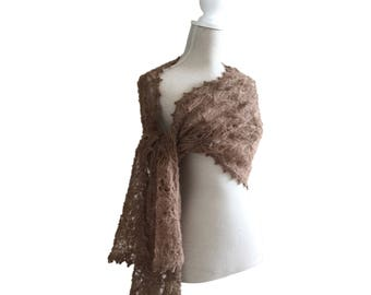 Brown Hand Knitted Lace Alpaca Silk Scarf for Women, Brides Made Shawl,Winter Lace Scarf, Lace Mohair Stole in Brown, Winter Lace Shawl