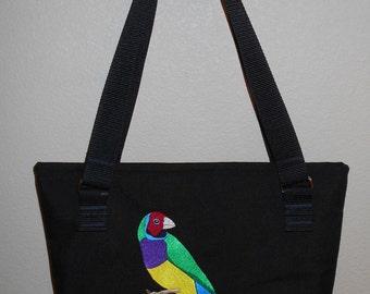 Embroidered Gouldian Finch Tote Bag Black