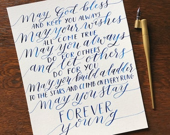 Forever Young Lyrics | Bob Dylan | Hand-Lettered Calligraphy Art | 8x10