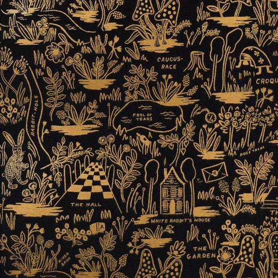 Crib Sheet >> Rifle Paper Co. Wonderland Magic Forest in Black > MADE-to-ORDER mini crib, alice crib, rifle paper bassinet whimsical bedding