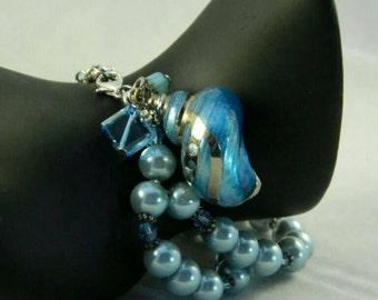 Blue Sea Shell Bracelet