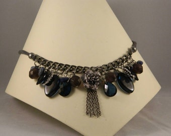 Blue water beaded necklace