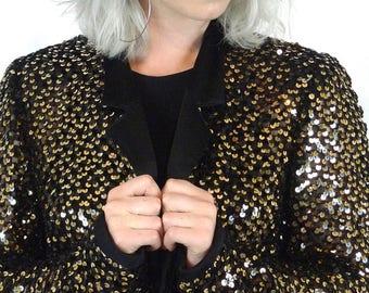 ON SALE Vintage Gold Sequin Black Crochet Knit Bohemian Rock Star Jacket Coat
