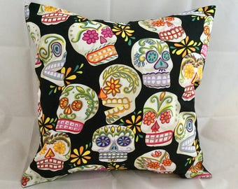 Sugar skull day of the dead cushion cover