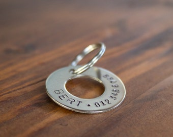 Personalized Hand Stamped Silver Ring Dog Tag // Custom Pet ID - Dog ID Tag - Dog Collar Name Tag - Ring ID Tag - Metal Pet Tag