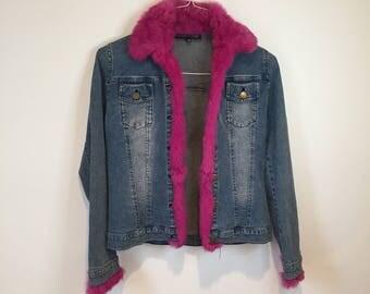 30% OFF SALE - Vintage Denim Jacket with Pink Fur Trim