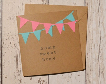 New home card 'Home sweet home' - bunting die-cut